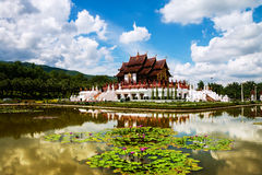 Chiang Mai, Thailand. Royal Palace garden and temple Stock Photo