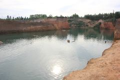 Hangdong canyon chiangmai. Resevoir from old excavation laterite soil for sale. CHIANG MAI, THAILAND -SEPTEMBER 9 2015: Hangdong canyon chiangmai. Resevoir from royalty free stock photo