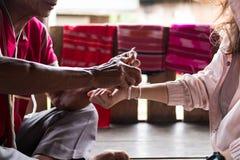 Unidentified elder man from Karen ethnic hill tribe minority tie. Chiang Mai, Thailand - September 14, 2017: Unidentified elder man from Karen ethnic hill tribe royalty free stock image