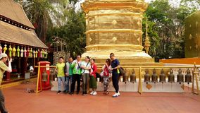 Chiang Mai, Thailand - 2019-03-15 - tourists take group photo.  stock footage