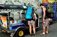 Chiang Mai, Thailand: Tourists with Tuk-Tuk Royalty Free Stock Photo