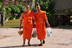 Chiang Mai, Thailand: Two Monks at Wat Suan Dok Royalty Free Stock Image