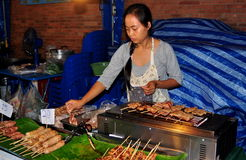 Chiang Mai, Thailand: Woman Selling Sausages Royalty Free Stock Image