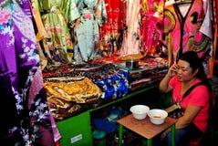Chiang Mai, Thailand: Woman Selling Silks Royalty Free Stock Photos