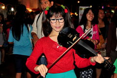 Chiang Mai, Thailand: Young Street Violinist Royalty Free Stock Photography