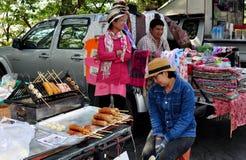 Chiang Mai, Thailnd: Food & Fabrics Vendors Stock Image