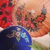 Chiang Mai Traditional Umbrella painting. Found at Chiang Mai handicrafts village for travelers who would like to see more of Thailand Royalty Free Stock Photography