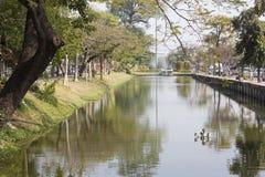 Chiang Mai vallgrav Läge omkring av den gamla staden Chiang Mai Royaltyfria Foton