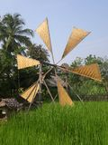 Chiang Mai windmill. This is a traditional local windmill built from wood and woven grass in the Chiang Mai area of Northern Thailand Stock Photography