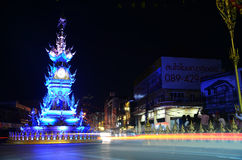 Chiang Rai clock-tower entertaining performance have lights and colors Stock Images