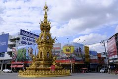 Chiang Rai Clocktower. Famous gold-decorated clocktower in downtown Chiang Rai, Thailand Royalty Free Stock Photos