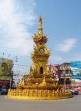 Chiang Rai Colden Clock Tower Royaltyfria Bilder