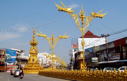 Chiang Rai Colden Clock Tower Stock Photo
