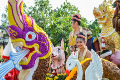 Chiang Rai, Thailand - April 12, 2015 :Songkran festival or Thai New Year`s festival.The girl is crowned to be `Miss Songkran` Royalty Free Stock Photo