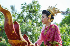 Chiang Rai, Thailand - April 12, 2015 :Songkran festival or Thai New Year`s festival.The girl is crowned to be `Miss Songkran` Stock Images