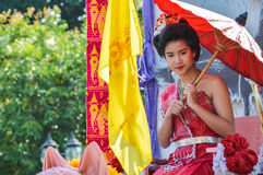 Chiang Rai, Thailand - April 12, 2015 :Songkran festival or Thai New Year`s festival.The girl is crowned to be `Miss Songkran` Royalty Free Stock Images