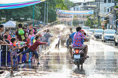 Chiang Rai, Thailand - April 12, 2015 : The Songkran festival or Thai New Year`s festival. Water fights in the town. Stock Photography