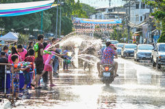 Chiang Rai, Thailand - April 12, 2015 : The Songkran festival or Thai New Year`s festival. Water fights in the town. Stock Photos