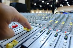 Chiang rai, Thailand - August 10, 2018: sound mixing console, T stock images