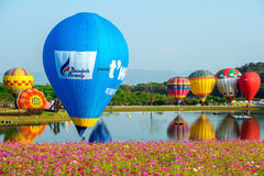 CHIANG RAI, THAILAND - 16. FEBRUAR: Bunter Ballon an SINGHA Stockbilder