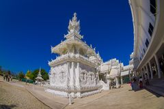 CHIANG RAI, THAILAND - FEBRUARY 01, 2018: Beautiful white temple at backyard in Thailand : Chiangmai Wat pun tao. Fish eye effect Stock Images