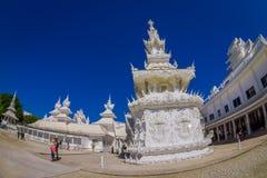 CHIANG RAI, THAILAND - FEBRUARY 01, 2018: Beautiful white temple at backyard in Thailand : Chiangmai Wat pun tao. Fish eye effect Royalty Free Stock Photo