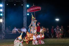 Khon Ramakien or Ramayana drama dancing. Chiang Rai, Thailand - February 16, 2018: Khon Ramakien or Ramayana drama dancing, unidentified actors are showing in Royalty Free Stock Images