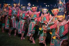 Khon Ramakien or Ramayana drama dancing. Chiang Rai, Thailand - February 16, 2018: Khon Ramakien or Ramayana drama dancing, unidentified actors are showing in Royalty Free Stock Image