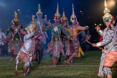 Khon Ramakien or Ramayana drama dancing royalty free stock photography