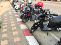 CHIANG RAI, THAILAND - FEBRUARY 17 : motorcycles parking Royalty Free Stock Photo