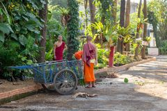 CHIANG RAI, THAILAND - FEBRUARY 01, 2018: Outdoor view of unidentified monks in the road cleaning the street close to a Stock Image