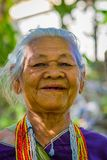 CHIANG RAI, THAILAND - FEBRUARY 01, 2018: Portrait of unidentified old woman walking in tropical rainforest in Chiang. Mai Province, Thailand Stock Images