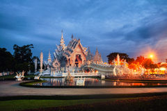 Chiang Rai, Thailand. Illuminated White Temple in the morning Stock Image
