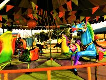 Chiang Rai,Thailand - January 3, 2019:Colorful The abandoned carousel in a playground in a village.Thailand traditional stock images