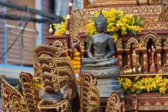 New Year Food Offerings Festival 2019. The buddha image. Chiang Rai, Thailand : January 1, 2019. New Year Food Offerings Festival of traditional merit making royalty free stock photo