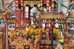 New Year Food Offerings Festival 2019. Buddha image Chariots. Chiang Rai, Thailand : January 1, 2019. New Year Food Offerings Festival of traditional merit royalty free stock photo