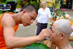 Chiang rai, Thailand - June 16, 2018: Ordained as a Buddhist mon. K,Thai men at the age of 25 will be ordained as monks to replace the kindness of father and stock photos