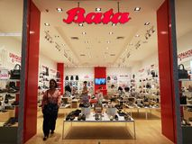 CHIANG RAI, THAILAND - MARCH 7, 2019 : Exterior view of the entrance to the Bata footware shop in Central department store on royalty free stock image