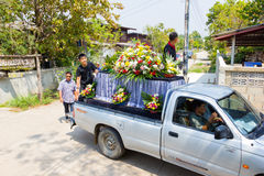 CHIANG RAI, THAILAND - MARCH 2 : pick-up carring decorated coffin Royalty Free Stock Photo