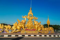 Beautiful golden elephant sculpture welcome symbol on the street nearby the Mae Fah Luang - Chiang Rai International Airport. Chiang Rai, Thailand - November 19 Stock Photography