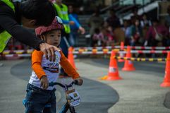 Flipper Balance Bike Chiangrai Championship, Children participate in balance bicycle race. Stock Image
