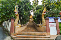 Chiang Rai, Thailand - October 1, 2016: Chiang Rai, Thailand - October 1, 2016: The stairsway to the Wat Phra That Doi Ngam Muang Stock Photos