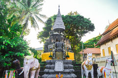 Chiang Rai, Thailand - October 1, 2016: The memorial to King Mengrai in Wat Phra That Doi Ngam Muang Royalty Free Stock Image