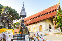 Chiang Rai, Thailand - October 1, 2016: The memorial to King Mengrai in Wat Phra That Doi Ngam Muang Stock Photography