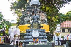 Chiang Rai, Thailand - October 1, 2016: The memorial to King Mengrai in Wat Phra That Doi Ngam Muang Royalty Free Stock Images