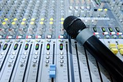 Chiang rai, Thailand - September 20, 2018: Microphone on console stock photos