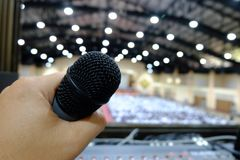 Chiang rai, Thailand - September 20, 2018: Microphone on console stock image