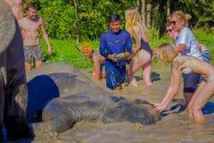CHIANG RAJA TAJLANDIA, LUTY, - 01, 2018: Obcokrajowa turysta aktywność doświadczać lokalnego kąpanie i styl życia Zdjęcie Royalty Free