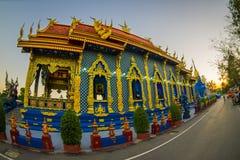 CHIANG RAJA TAJLANDIA, LUTY, - 01, 2018: Piękny plenerowy widok wchodzić do Rong Sua Dziesięć świątynia z niebieskim niebem Obraz Stock