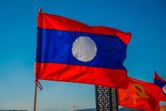 CHIANG RAJA TAJLANDIA, LUTY, - 01, 2018: Plenerowy widok flaga z kolorami ono waha się w molu flaga państowowa Obraz Royalty Free